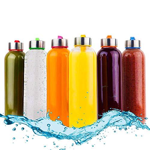 Glasflasche -Trinkflasche 6er Set Mit verschillende kleuren Nylon Schutzhüllen Wasserflaschen für Smoothies, Säfte, Wasser und andere Getränke BPA Frei | Luftdichte Trinkflaschen 6 x 500 ml