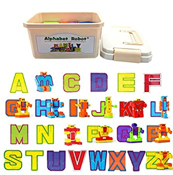 26 Pieces Alphabet Robot Transforming Action Figure Alpha-bots Toys for Kids ABC Learning Birthday Party School Classroom Rewards Carnival Prizes Pre-school Education Toy Montessori Teaching Toy