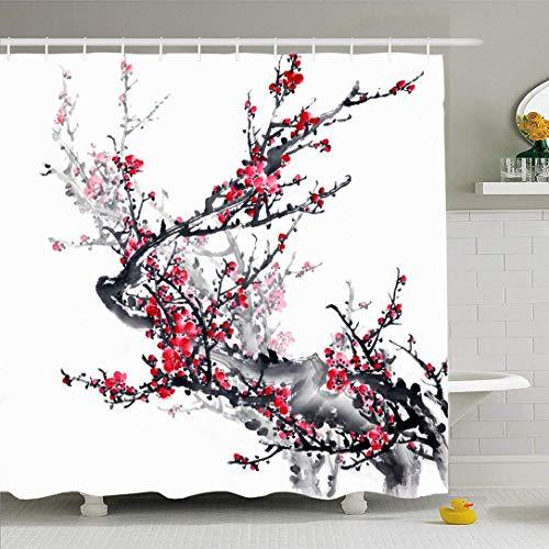 N / A Ahawoso Duschvorhang Set mit Haken Design Pflaume Schöne Grafikblüte auf weißer Blume Traditionelles ChinesischNatur Texturen Künstlerische wasserdichte Polyester Stoff Bad Dekor für Badezimmer