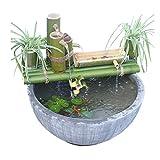 ZLBIN Kit De Fuente De Bambú Acentos Fuente De Agua Decoración De La Bomba Boquilla De Agua con Bomba Esculturas Estatuas Artes Artesanías para Jardín Decoración del Hogar,30CM