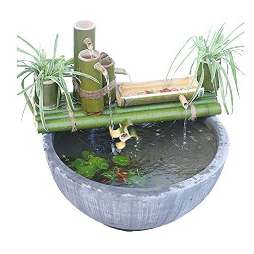 ZLBIN Kit De Fuente De Bambú Acentos Fuente De Agua Decoración De La Bomba Boquilla De Agua con Bomba Esculturas Estatuas Artes Artesanías para Jardín Decoración del Hogar,55CM