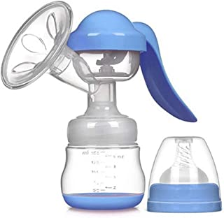 Breast Pump Manual Breast Pump, 150ml Silicone Manual Feeding Pump, Suitable for Mother's Breastfeeding (Color : Blue)