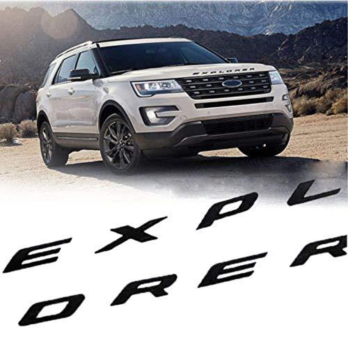 L&U 3D-Buchstaben ABS Front Hood Emblem Explorer Sport Hood Letters Aufkleber Fit für Ford Explorer 2011-2020,Bright Black