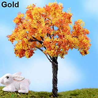 yanQxIzbiu Garden Resin Decor, Miniature Sakura Plum Willow Tree Plants Fairy Garden Accessories Dollhouse Ornament - Gold