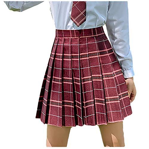 Falda plisada para nia, cintura alta, minifalda plisada rojo 40