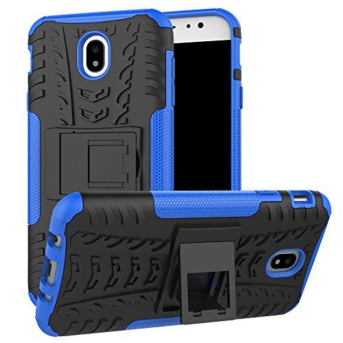 LiuShan Galaxy J7 2017 Funda, Heavy Duty Silicona Híbrida Rugged Armor Soporte Cáscara de Cubierta Protectora de Doble Capa Caso para Samsung Galaxy J7 2017 (5,5 Pulgadas SM-J730F),Azul