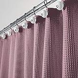 mDesign langer Polyester/Baumwoll-Mischgewebe, Duschvorhang mit Waffelmuster & rostfreien Metallösen, 182,9 x 213,4 cm Pack of 1 pflaume