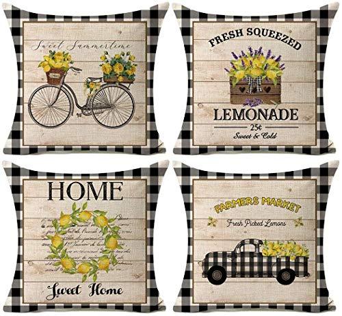 Kithomer Summer Lemon Throw Pillow Case 20 x 20 Inch Fresh Farm Market Buffalo Check Farmhouse Summer Decorative Home Decor Cushion Cover for Sofa Couch Set of 4