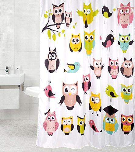 Duschvorhang Owl 180 x 180 cm, hochwertige Qualität, 100prozent Polyester, wasserdicht, Anti-Schimmel-Effekt, inkl. 12 Duschvorhangringe