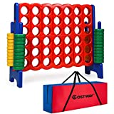 COSTWAY Jumbo 4-to-Score Giant Game Set with Storage Carrying Bag, 4 in A Row for Kids and Adults, Game Set with 42 Jumbo Rings & Quick-Release Slider, Perfect for Family Game