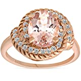 1 3/4ct Morganite Diamond Vintage Halo Engagement Anniversary Ring 14K Rose Gold - Size 9
