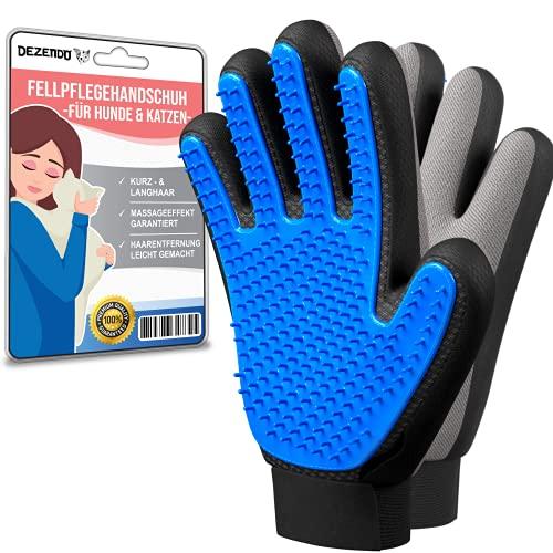 DEZENDO® Premium Fellpflegehandschuh für Hund & Katze   Hundehaare & Katzenhaare entfernen inkl. Massageeffekt   Fellpflege mit dem Katzen Handschuh & Hunde Handschuh   Fellhandschuhe Katze & Hunde