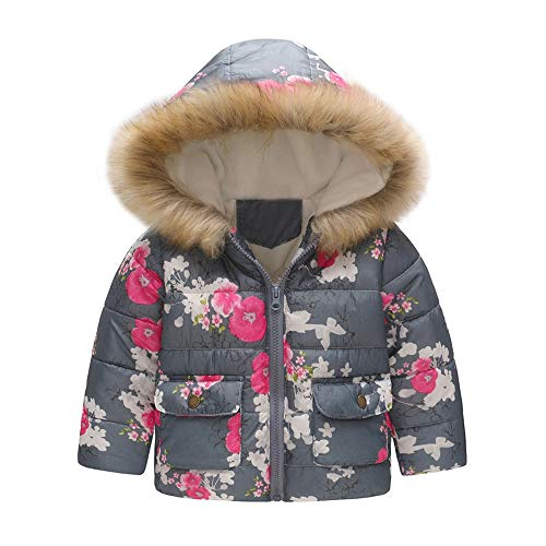 WARMSHOP Boys Girls Down Coat,2018 Latest Girl Boy Fur Winter Thick Warm Cartoon Cat Print Zipper Hooded Jacket Outwear (4-5 Years Old, Gray)