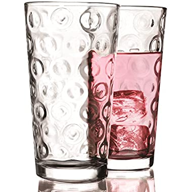 Circleware Circles Huge Set of 10 Tall Heavy Base Highball Drinking Glasses, 17 oz, Lead-Free Glass Tumbler Drink Cups for Water, Beer, & All Beverage