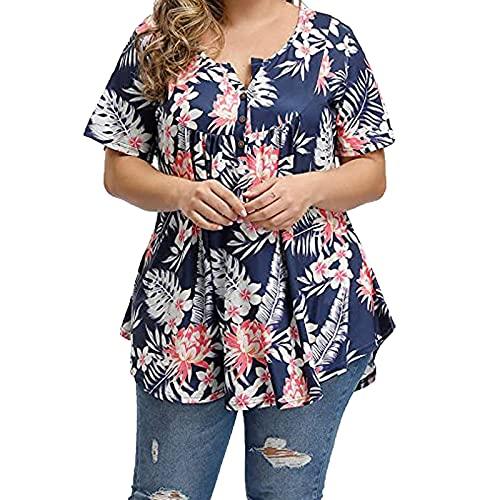 FOTBIMK Blusas florales de talla grande con cuello en V para mujer, túnica con botones y estampado de punto de onda de leopardo, camiseta de manga corta XL-4XL