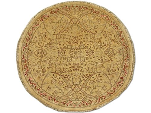Pak persiano tappeto tradizionale persiano Chobi tappeto Tabriz circolare a mano, in lana, marrone chiaro, 94x 94cm, 3'2,5cm x 3' 2,5cm (ft)