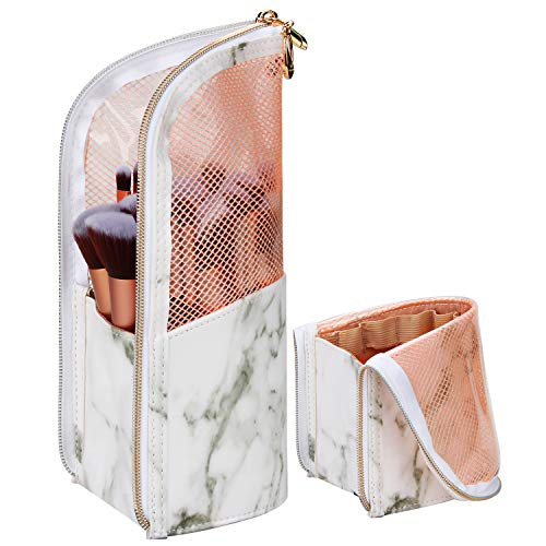 Travel Makeup Brush Holder Bag, Portable Make-up Brush Cup Organizer Bag Waterproof Stand-Up Makeup Brush Pouch,Professional Artist Makeup Brush Sets Carry Case (White)