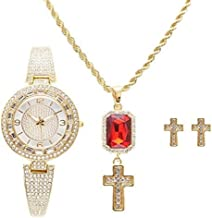 Shine Like a Diamond Bling Bling Ladies Baguette Rhinestone Luxurious Watch with Cross Ruby Red Charm Necklace and Matching Gold Cross Earrings - RRR11D -LW10028 Gold Cross Set