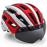 EASTINEAR Casco MTB Hombre Casco Bicicleta Ligero para Adulto con Visera Magnética Usuarios de Gafas Luz Trasera LED Amigable para Protección 57-61CM (Blanco Rojo)