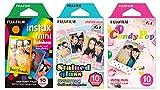 Fujifilm Instax Mini Instant Film Rainbow & Staind Glass & Candy Pop Film -10 Sheets X 3 Assort Value Set(with Values Japan Original Discription of Goods)