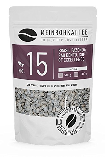 Rohkaffee - Brasil Sao Bento (grüne Kaffeebohnen) - nussig, süßlich, leichte Frucht - 500g