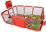 Phrat Baby Park Game Barrier para niños pequeños con Cesta de Baloncesto para Parque de Seguridad para niños (182 122 66cm)-Rojo