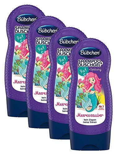 Bübchen Kids Shampoo und Duschgel plus Spülung 3in1 Meereszauber, Kinder-Shampoo und -duschgel + Spülung, pH-hautneutrale Pflege für Kinderhaut, mit frischem Duft, Menge: 4 x 230 ml