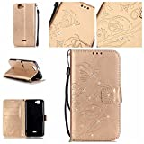 Tasche für Wiko Rainbow 4G Hülle, Ycloud PU Ledertasche Flip Cover Wallet Case Handyhülle mit Stand Function Credit Card Slots Bookstyle Purse Design Schmetterling Blume Gold