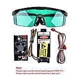 S SMAUTOP 5500mW 450nm TTL PWM Módulo de control láser azul, DC 12V Focal Cabezal láser ajustable, Módulo de grabado de cabeza láser 100-240V + Gafas, Para la máquina de grabado láser DIY (5.5W+Gafas)