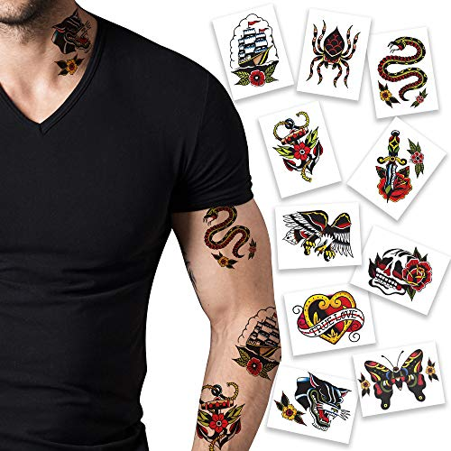American Traditional Pack Temporary Tattoos | Pack of 10 | Skin Safe | MADE IN THE USA | Removable