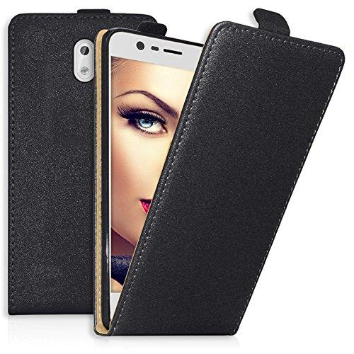 mtb more energy® Flip-Hülle für Nokia 3 (5.0'') - schwarz - Kunstleder - Schutz-Tasche Cover Hülle