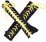 Women's Sexy Lace up Fingerless Gloves Long Lace Satin Elbow Gloves Halloween Costumes Punk Party (Satin Yellow)