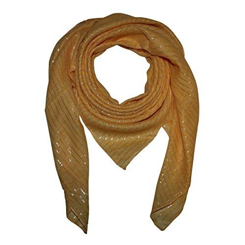 Superfreak® Baumwolltuch mit Silber Lurex - Tuch - Schal - 100x100 cm - 100% Baumwolle Farbe: gelb-gold