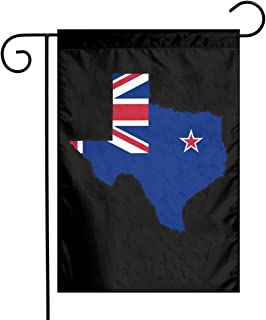 New Zealand Flag Texas Map Garden Flag Welcome House Flag For Celebration,Festival,Home,Outdoor,Garden Decorations 12 X 18 Inch