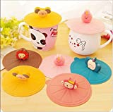 5PCS New Cute Anti-dust Silicone Glass Cup Cover Coffee Mug Suction Seal Lid Cap,Random Colors and Random Modelling
