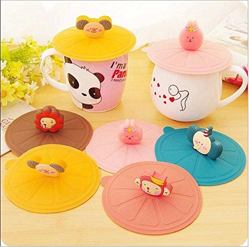 Toysdone 5PCS New Cute Anti-dust Silicone Glass Cup Cover Coffee Mug Suction Seal Lid Cap,Random Colors and Random Modelling