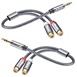 RCA to 3.5mm, 2-Pack 0.9ft/28cm RIKSOIN 3.5mm to 2-Female RCA Adapter Audio Stereo Cable [Nylon Braided, Shielded] 3.5mm to RCA Cable for Smartphones, Computers, Subwoofers, Amplifiers, Speakers, TV