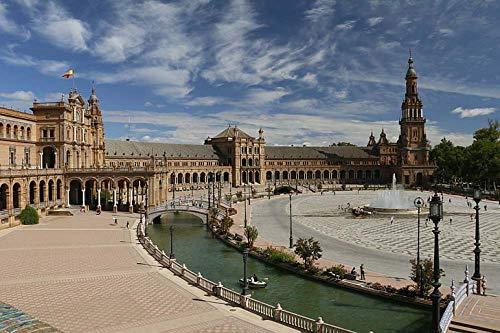 Yzqxiongtu Sevilla Bell Tower Plaza Rompecabezas 1000 Piezas, Rompecabezas de paisajes de Madera, Rompecabezas de Adultos en 2D para niños Adolescentes