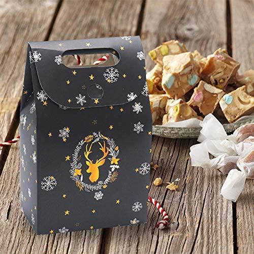 Candy Bag Night Sky Deer Papiertüte mit behandeltem Weihnachtsgeschenkkarton Schokoladenbeutel mit flachem Boden Company Holiday Gift Bag Kaffeebeutel Keksbeutel Treat Bags