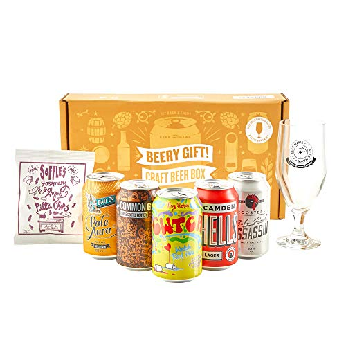 Beery Gift Hamper Selection Box by Beer Hawk, Craft Beer Gift Set with 5 Craft Beer Cans,1 Tasting Glass and 1 Delicious Snack - Christmas Beer Gift Idea