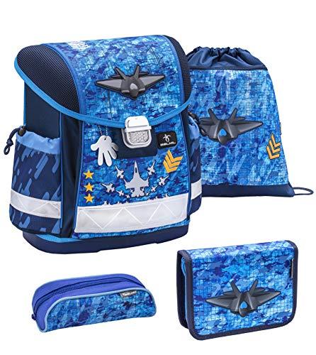 Preisvergleich Produktbild Belmil Schulranzen Set 4 - teilig ergonomischer Schulranzen Jungen 1. klasse 2. klasse 3. klasse - Super Leicht 860-950 g / Grundschule / Düsenjet blau (403-13 Military)
