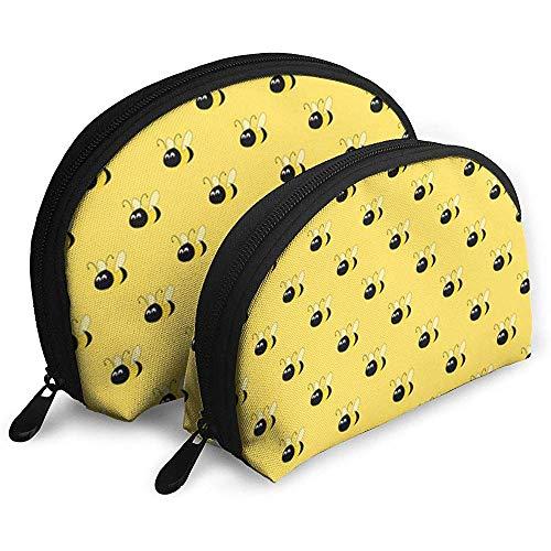 Linda Abeja Mariscos Amarillos Bolsa de cosméticos Forma de Concha Bolsas de Almacenamiento portátiles Bolsa de Aseo de Viaje (Incluye 2 Bolsas)