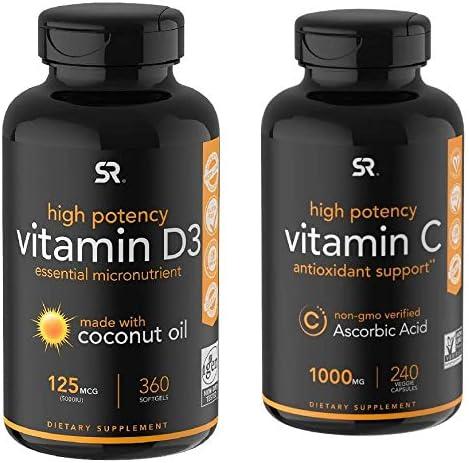 Sale item Vitamin D3 5000IU 125mcg 1000mg C Bundle + Max 76% OFF