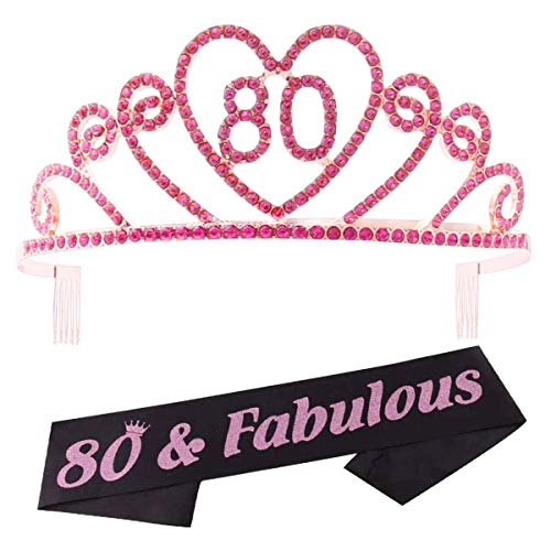 Tiara y faja de 80 cumpleaños corona y banda tiara y banda para 80 cumpleaños suministros para fiesta (tiara rosa + cinta negra)