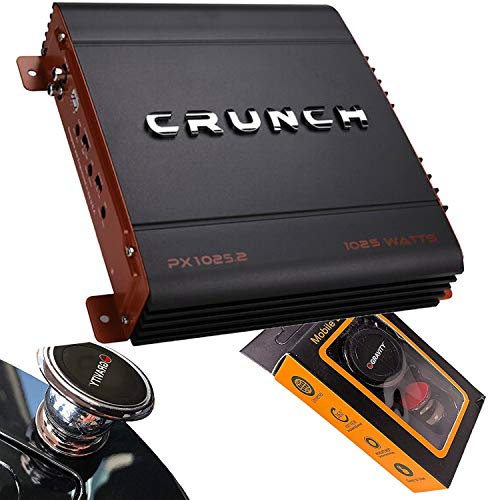 Crunch PX-1025.2 1000 Watts Power X Two Channel Car Audio Amplifier with Gravity Magnet Phone Holder Bundle