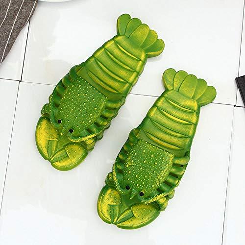 Chanclas Unisex Adulto,Sandalias y Zapatillas con Forma de Langosta, Zapatos de Playa Antideslizantes para Interiores y Exteriores-Green_42-43,Secado Rápido Zapatillas Piscina