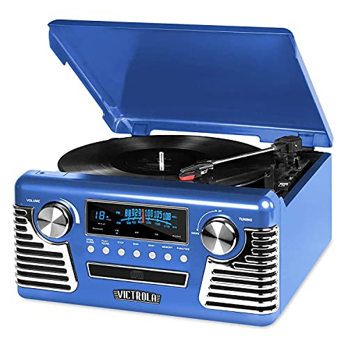 Victrola Retro Record Player with Bluetooth and 3-Speed Turntable (Blue)
