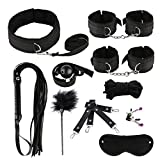 Bed Games for Adults Toy Suit 10 Pcs Yoga Plush Leather Set, S;m Kit for Couple Adult Sexy Suit (Color : Black)