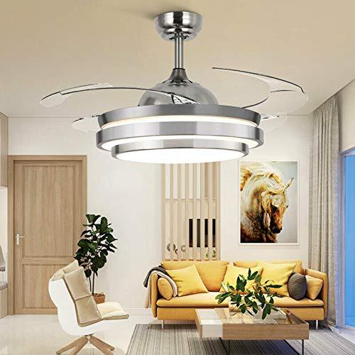 Ventilador de techo LED de 36 pulgadas, con iluminación de 4 aspas, con mando a distancia, invisible, lámpara de araña