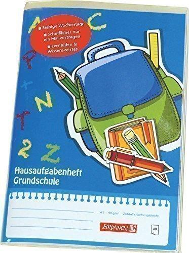 Hausaufgabenheft Grundschule, Brunnen, Größe DIN A5, Blau